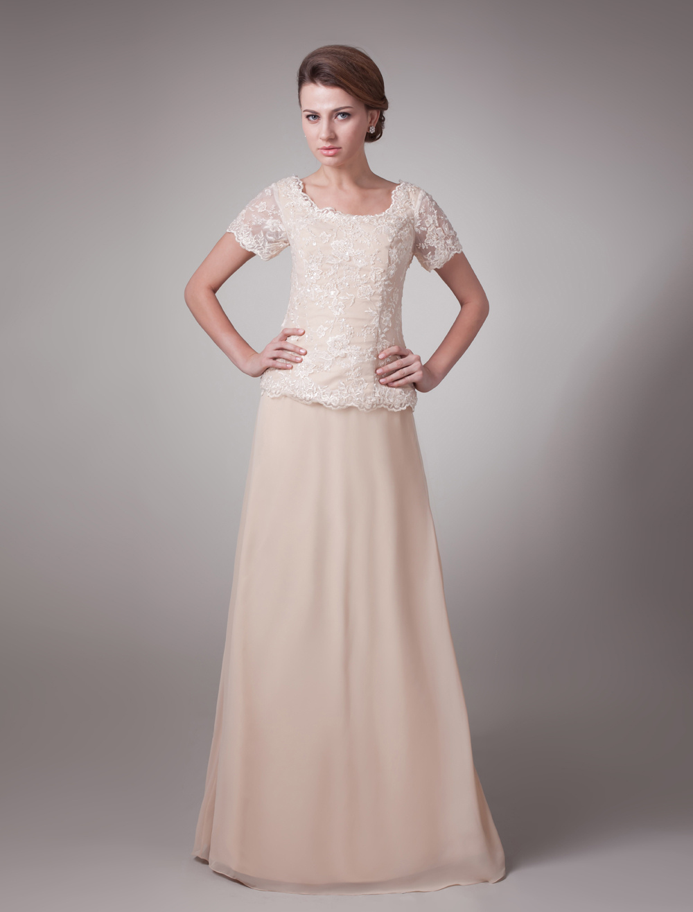 Pink Formal Short Sleeves Lace Satin Mother Of Bride And Groom Dress (Wedding) photo