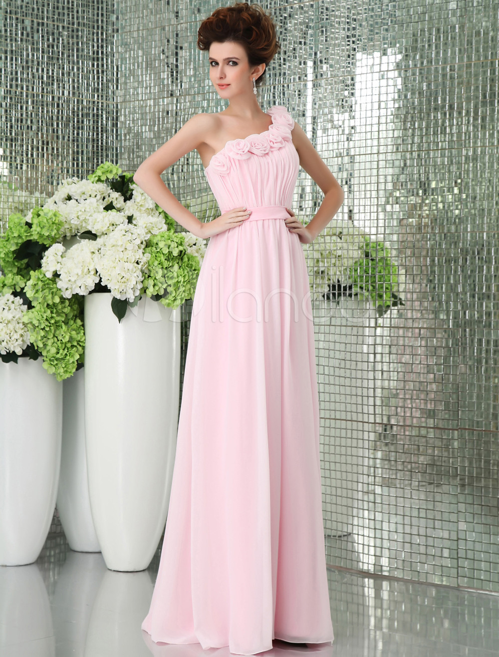 Pink One-shoulder Chiffon Floor Length Womens Bridesmaid Dress