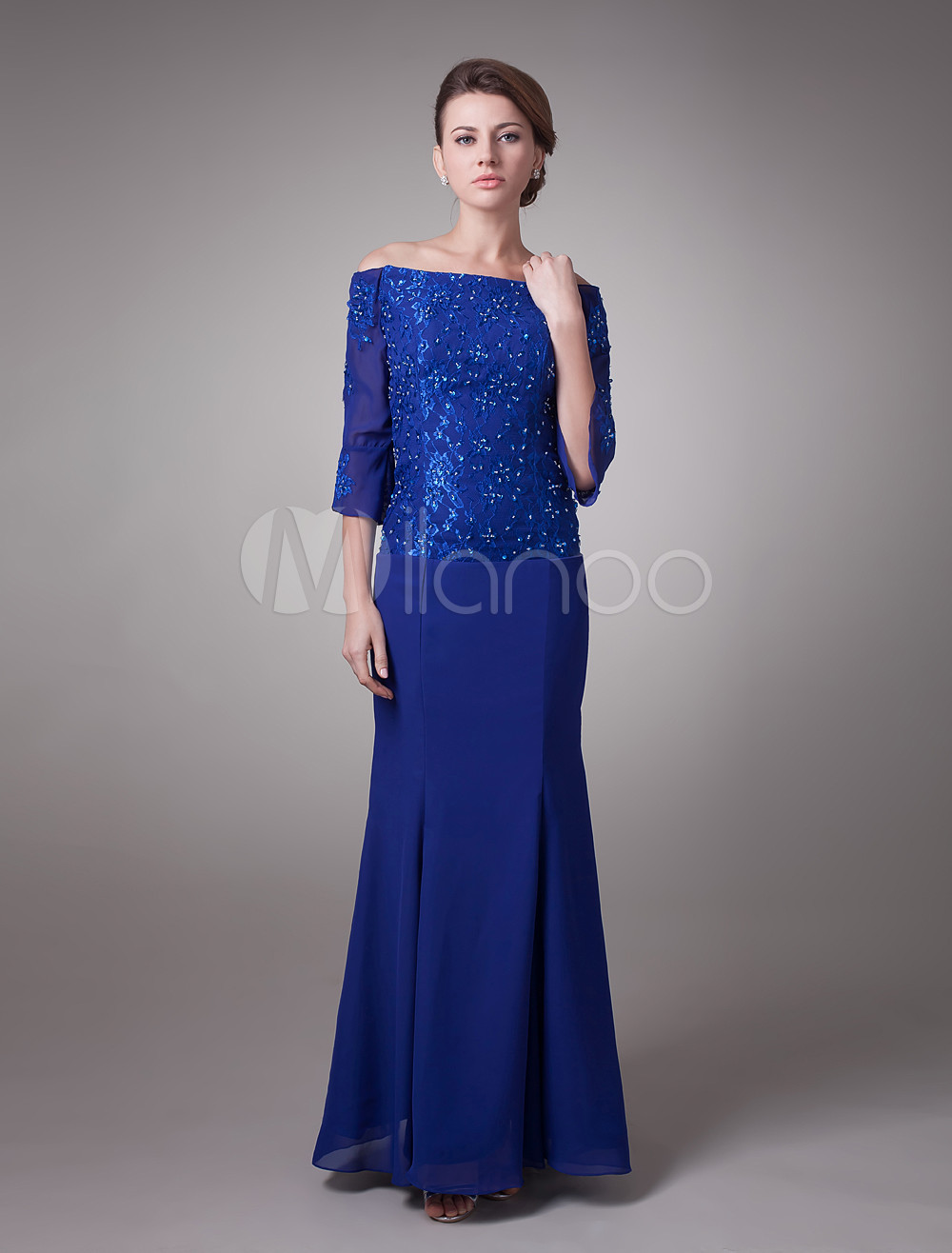 Royal Blue Off-The-Shoulder Chiffon Mother Of Bride And Groom Dress (Wedding) photo