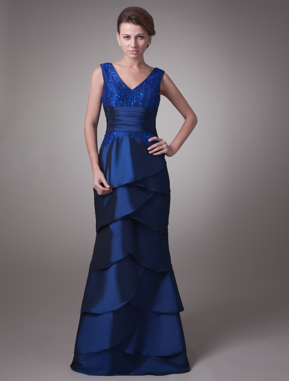 Royal Blue Mermaid V-Neck Tiered Sleeveless Mother of the Bride Dress