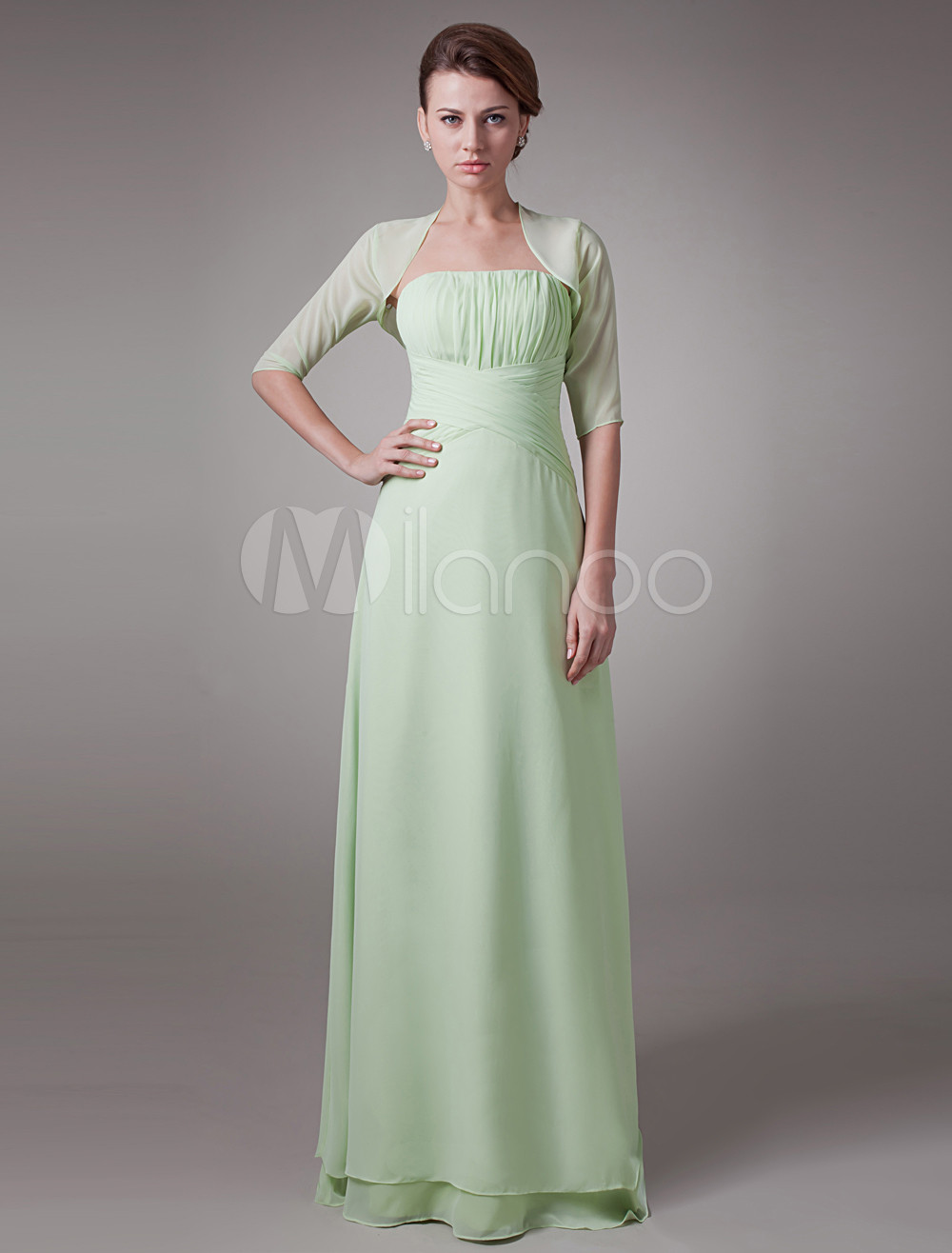 Sage 2-Piece Pleated Chiffon Mother Of The Bride Dress $129.99 AT vintagedancer.com