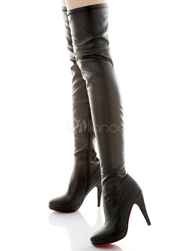 Sexy Black Zipper PU Woman's Over the Knee Boots - Milanoo.com