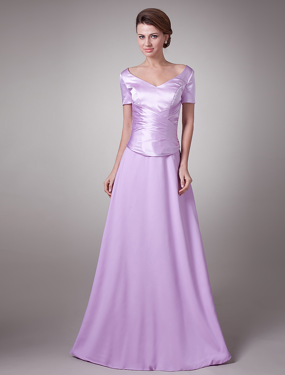 Short Sleeves V-Neck Draped Waist Long Mother of the Bride Dress