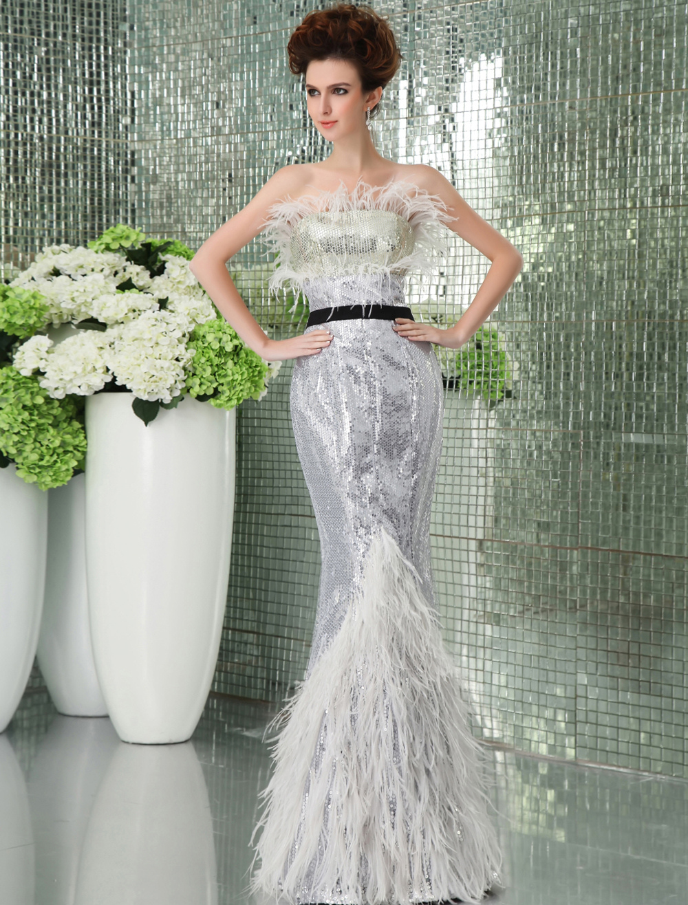 Strapless Mermaid Trumpet Evening Dress