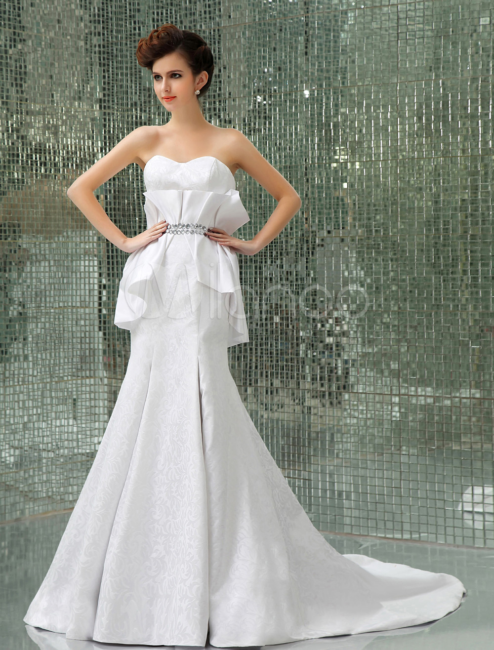 Slim White Satin A-line Sweetheart Sweep Evening Dress