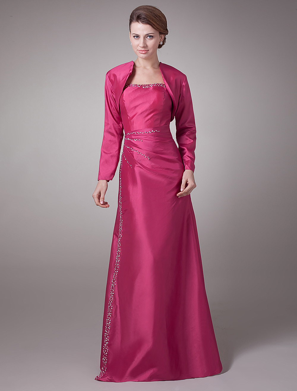 Beaded Long Sleeves Taffeta Mother of the Bride Dress