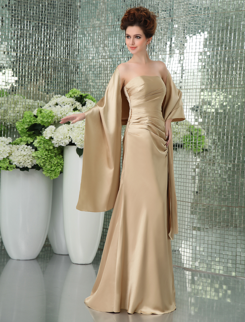 Gorgeous Strapless Satin Bridesmaid Dress