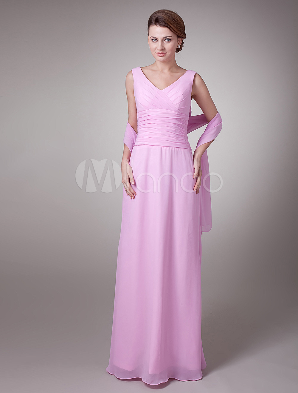 Sweet Pink Chiffon V-Neck A-Line Mother of The Bride Dress (Wedding) photo