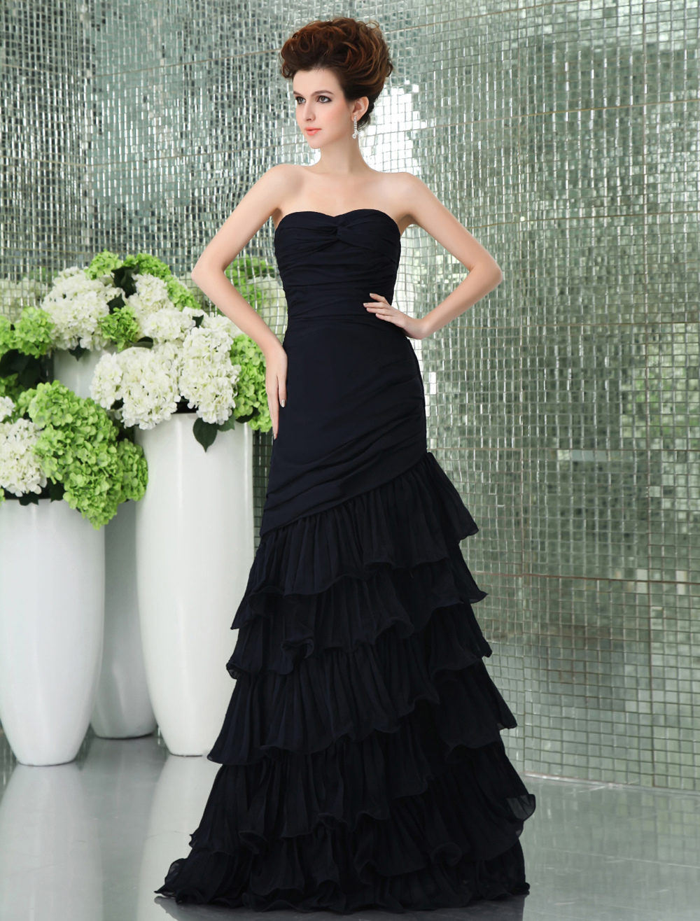 Sweetheart Dark Navy Blue Chiffon Floor Length Prom Dress (Wedding Prom Dresses) photo
