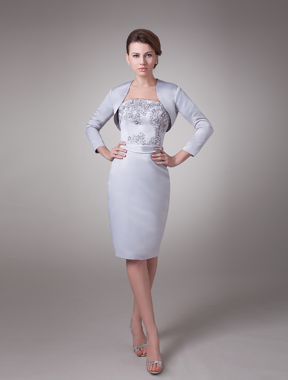 Two-Piece Beaded Silver Satin Mother Of The Bride Dress