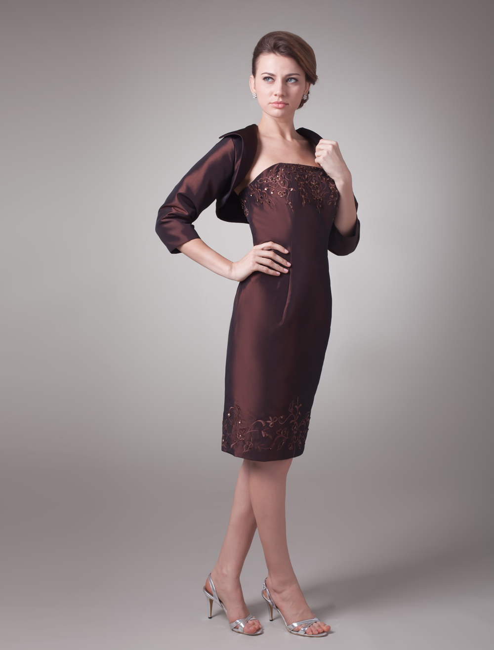 Brown A-line Taffeta Glamour Mother of the Bride Dress with Strapless Sequin