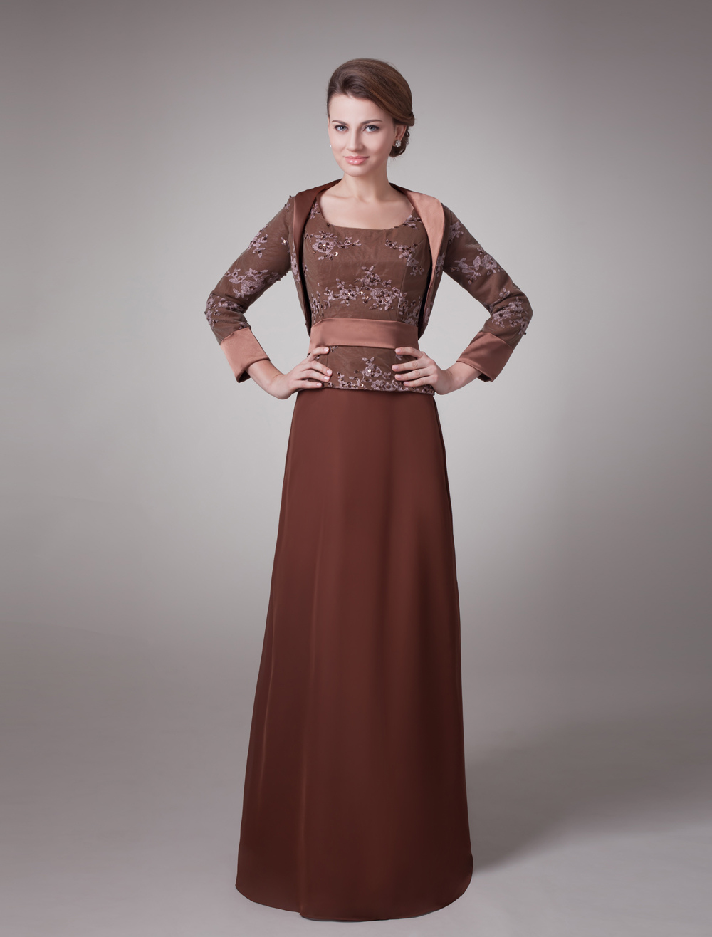 Two-Piece Brown Sash Satin Mother Of Bride And Groom Dress