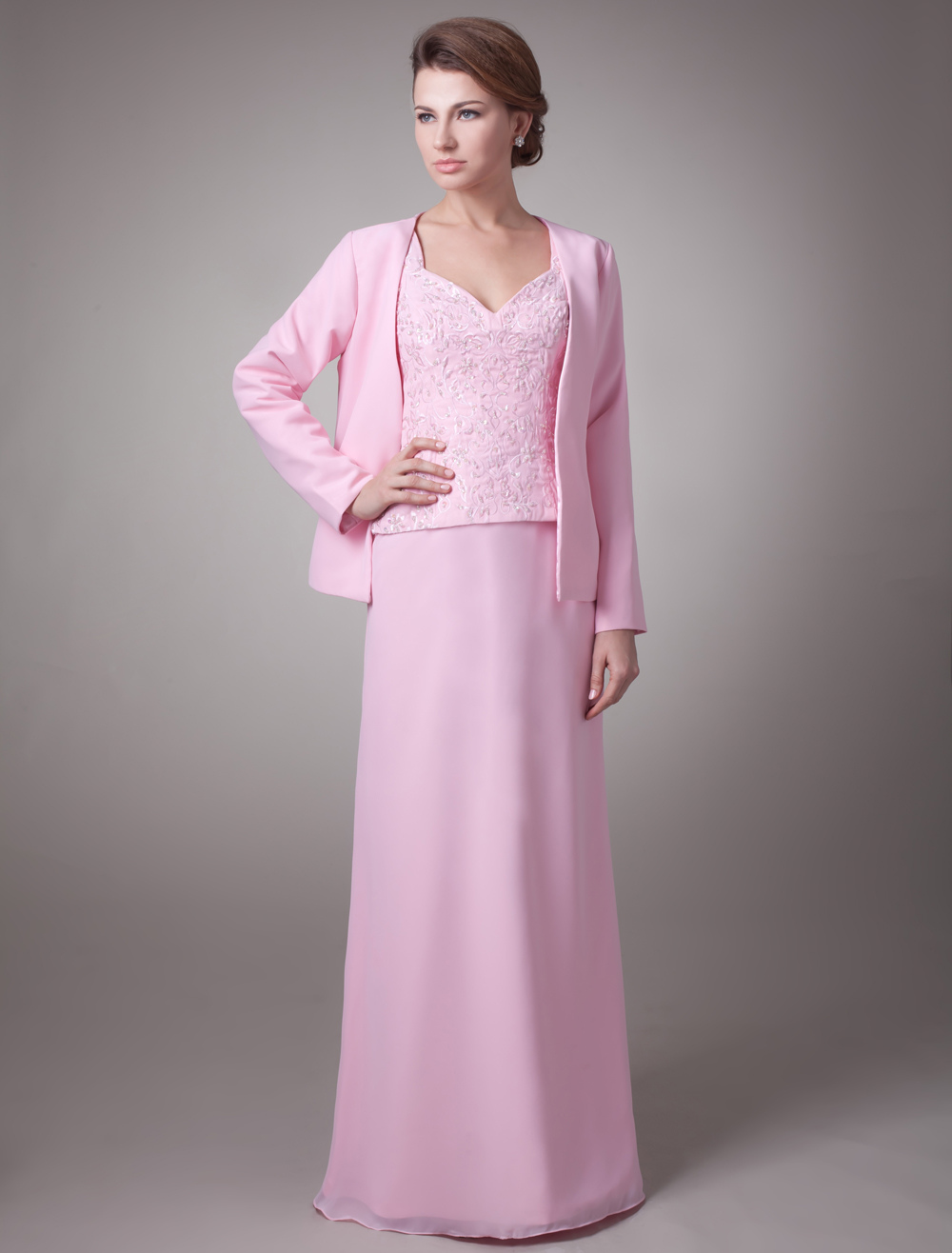 Glamour Pink Sheath V-Neck Beading Zipper Chiffon Bridal Mother Dress