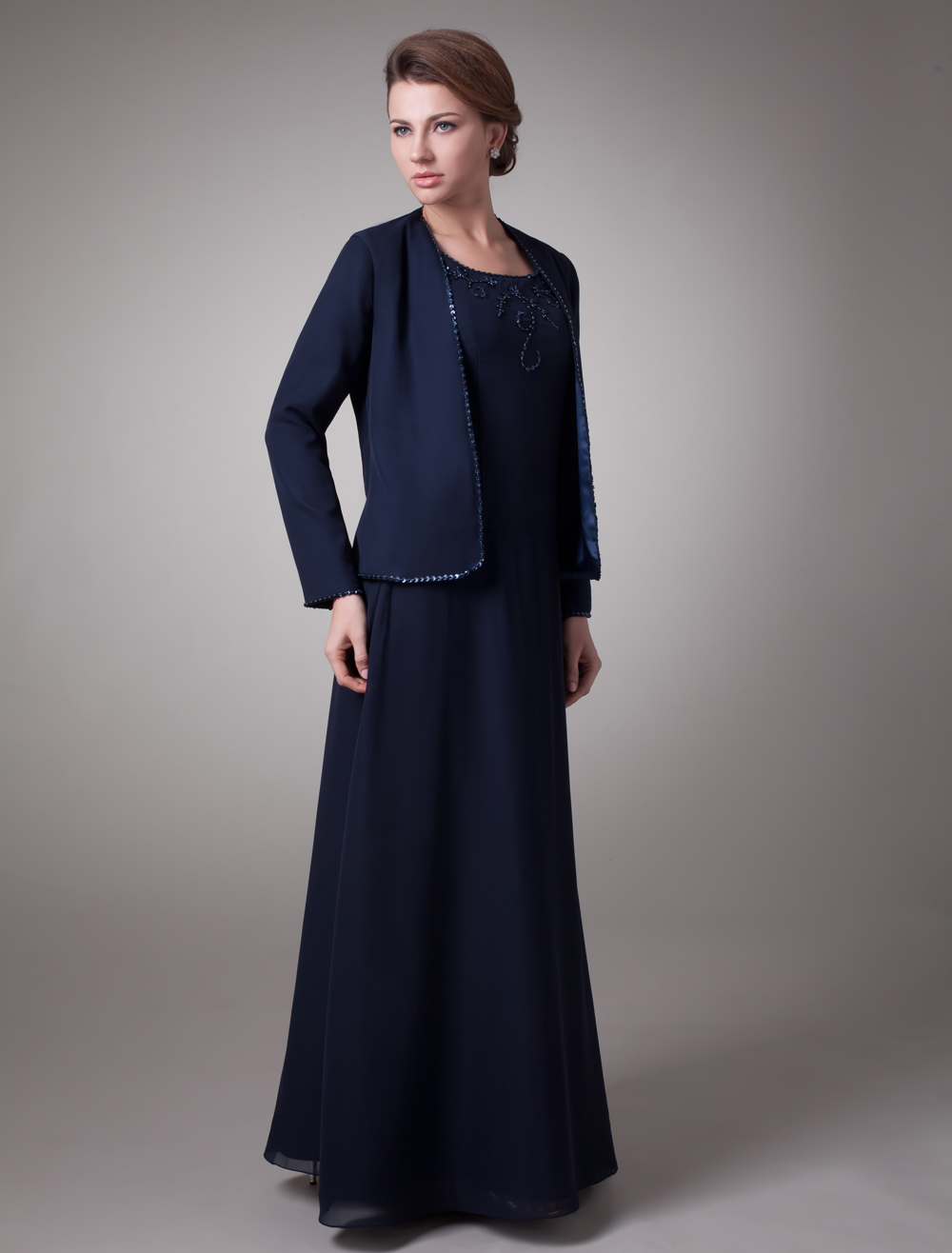 Two-Piece Dark Navy Satin Mother Of Bride And Groom Dress