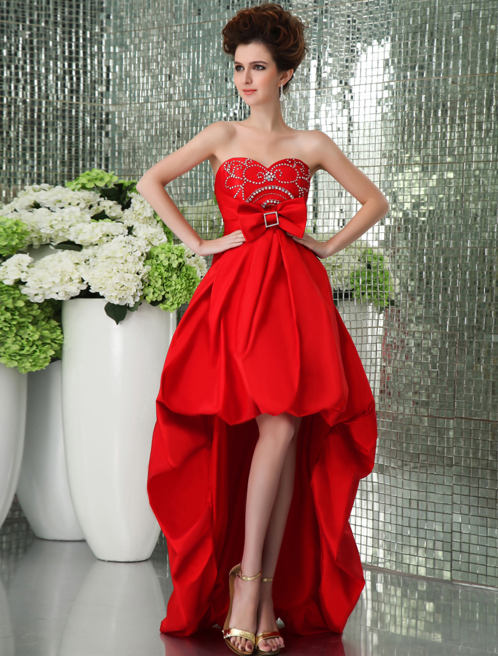 Red Asymmetrical Prom Dress with Empire Waist Strapless Bow (Wedding Prom Dresses) photo