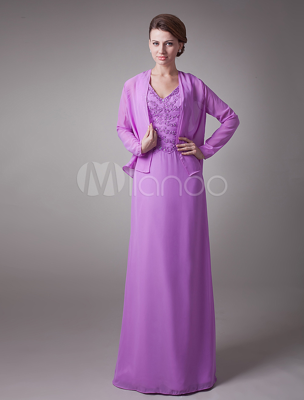 V-Neck Beaded Chiffon Mother Of Bride And Groom Dress