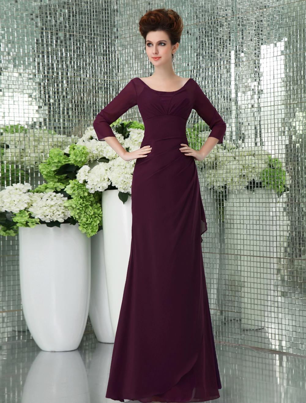 Vintage Grape Purple Chiffon Spaghetti Strap Floor Length Prom Dress