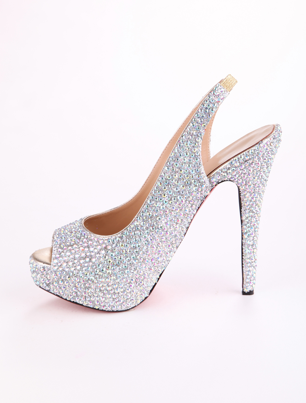 White Peep Toe Slingback Sheepskin Rhinestone Shoes - Milanoo.com