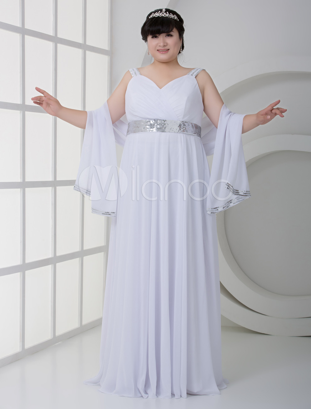 White Spaghetti Deep V-neck Floor Length Satin Plus Size Wedding Gown