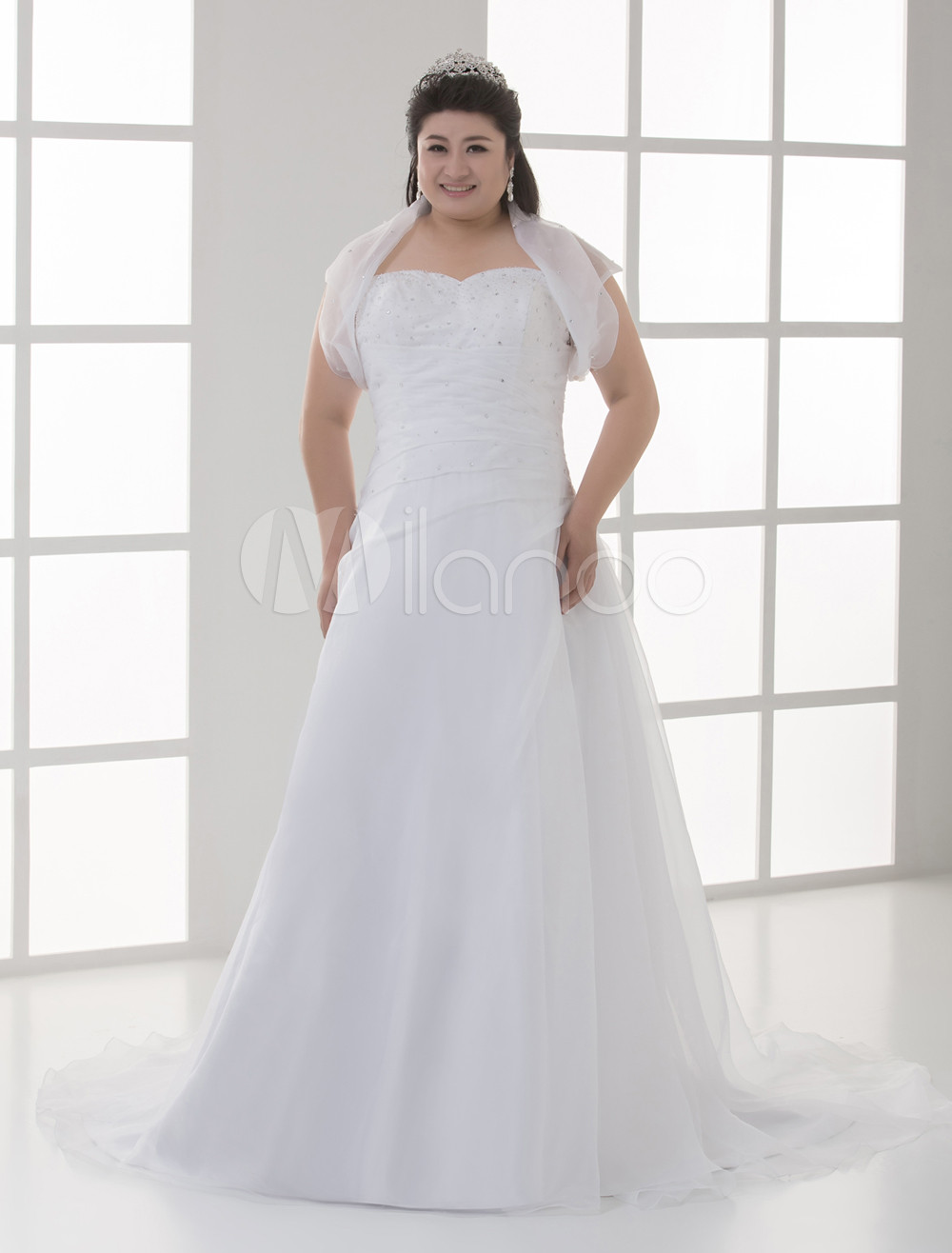 White Sweetheart A-line Tulle Plus Size Wedding Dress