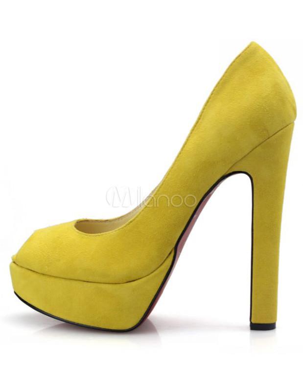 Yellow Platform Chunky Heel Sheepskin Suede Woman&39s Peep Toe Pumps