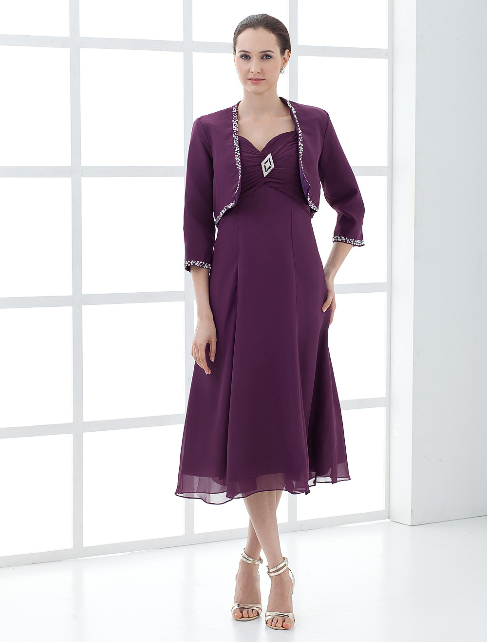 Grape Chiffon Mother of the Bride Dress With Jacket Wedding Guest Dress photo