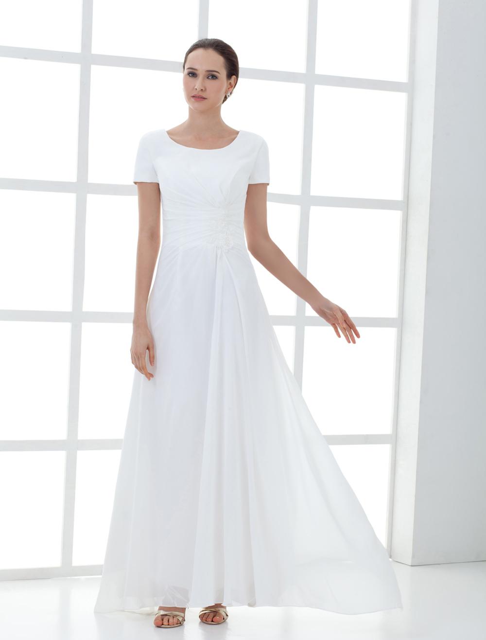 Beautiful White Short Sleeve Pleated Chiffon Mother of the Bride Dress (Wedding) photo