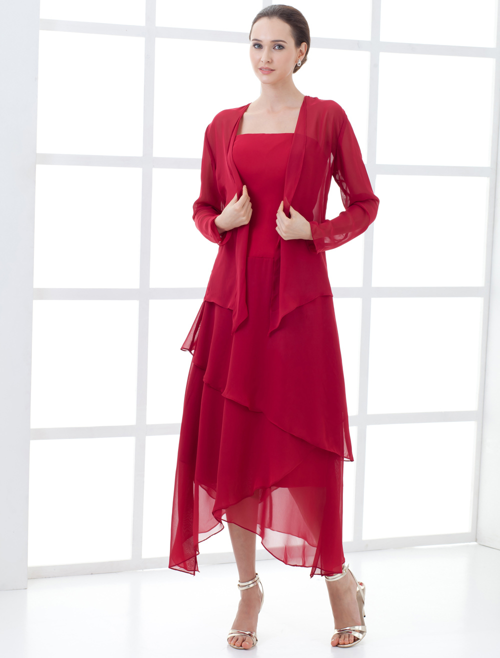 Elegant Wine Red Chiffon Mother Of The Bride Dress $94.43 AT vintagedancer.com