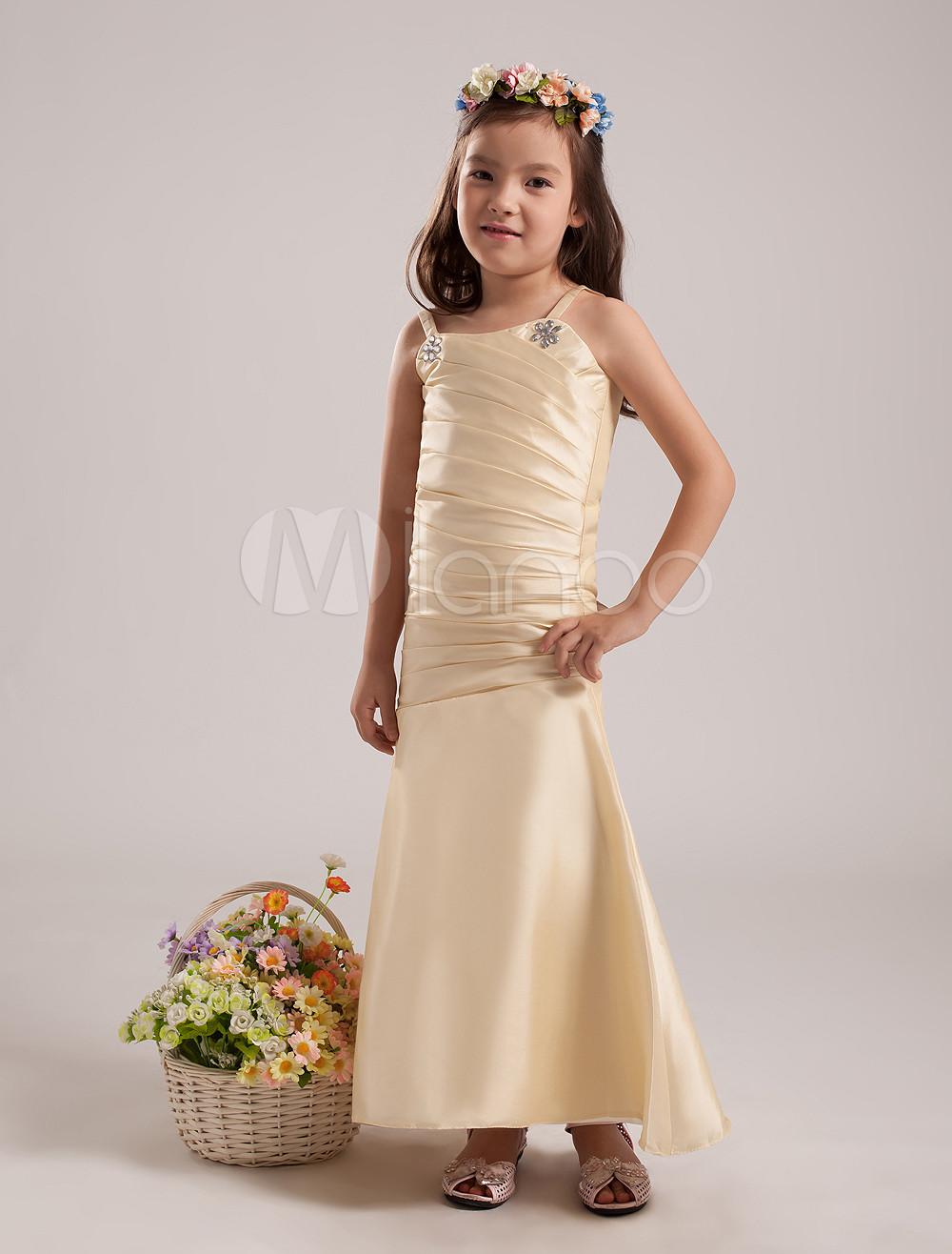 Luxurious Champagne Taffeta Thin Shoulder Straps Floor Length Junior Bridesmaid Dress