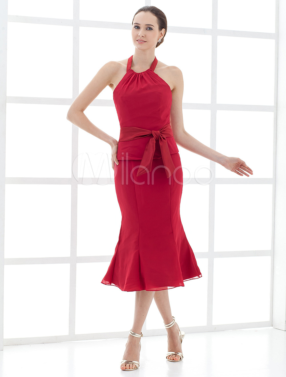 One-Piece Tea Length Satin Chiffon Mother of the Bride Dress