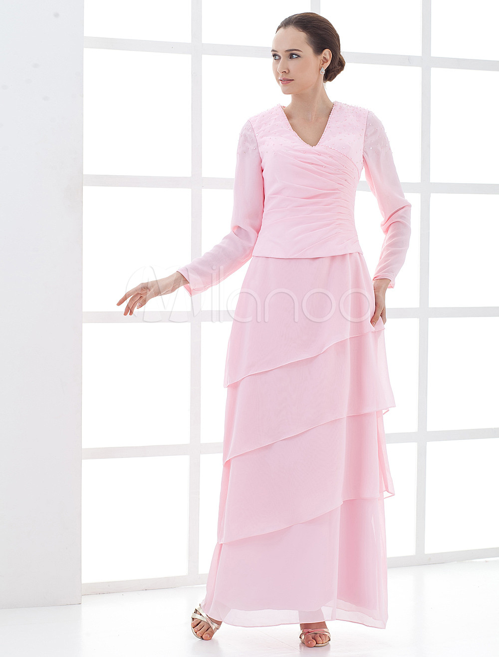 Pink Ruffles Beaded Chiffon Long Sleeves Mother of the Bride Dress