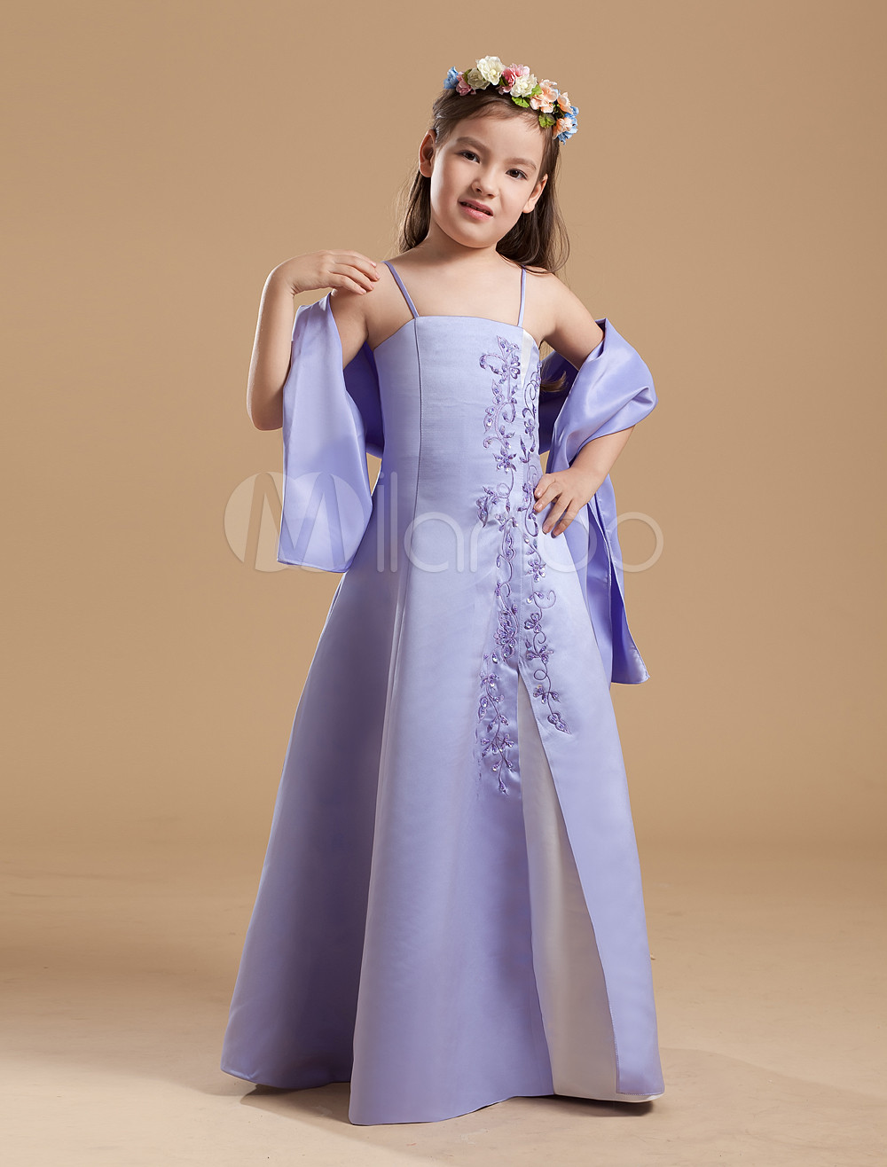 Popular Lilac Purple Satin Double Spaghetti Straps Floor Length Junior Bridesmaid Dress