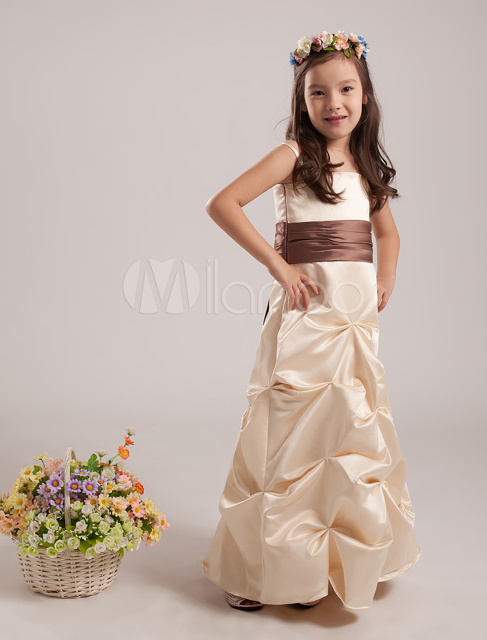 Sash Satin Junior Bridesmaid Dress