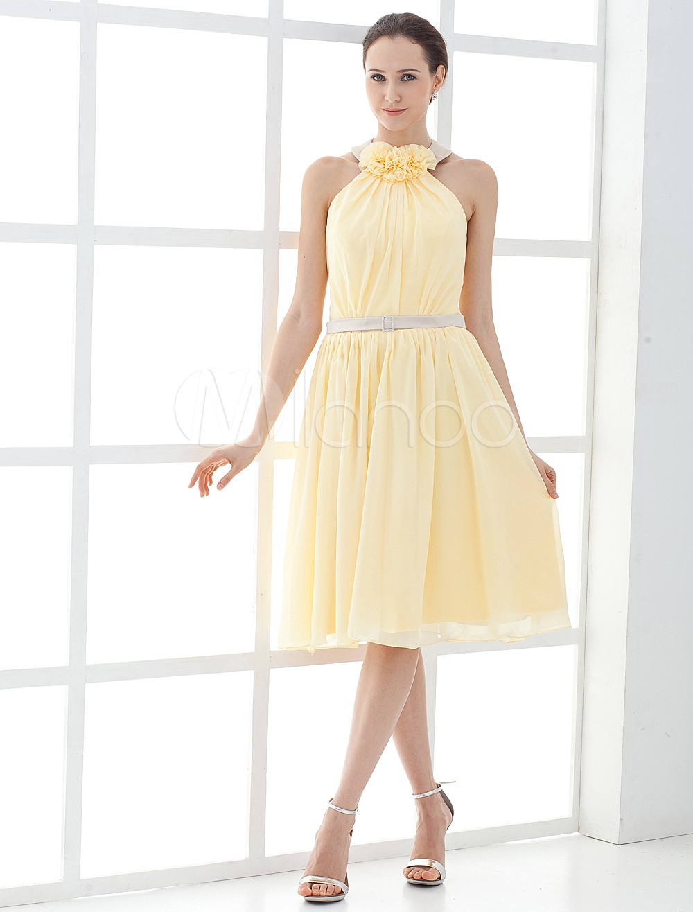 Sweet Flower Chiffon Satin Knee Length Mother of the Bride Dress