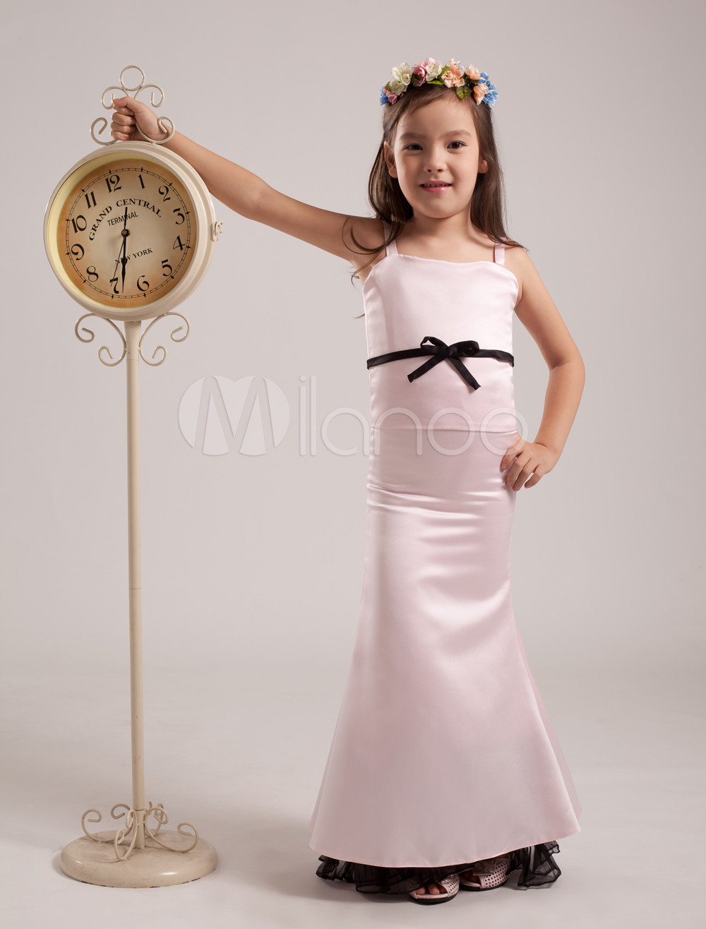 Sweet Pink Satin Spaghetti Straps Junior Bridesmaid Dress