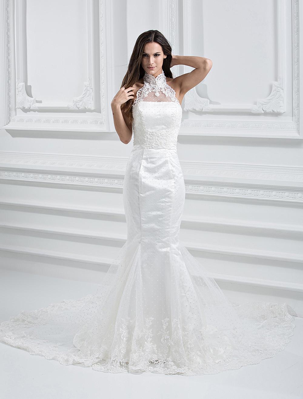 Elegant White Net Strapless Mermaid Trumpet Column Wedding Dress