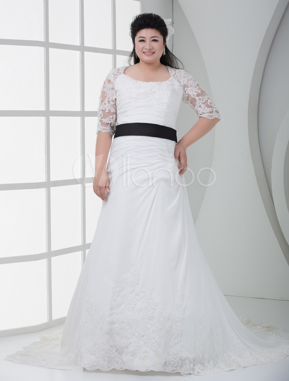 Ivory Off-The-Shoulder A-line Chiffon Plus Size Wedding Dress