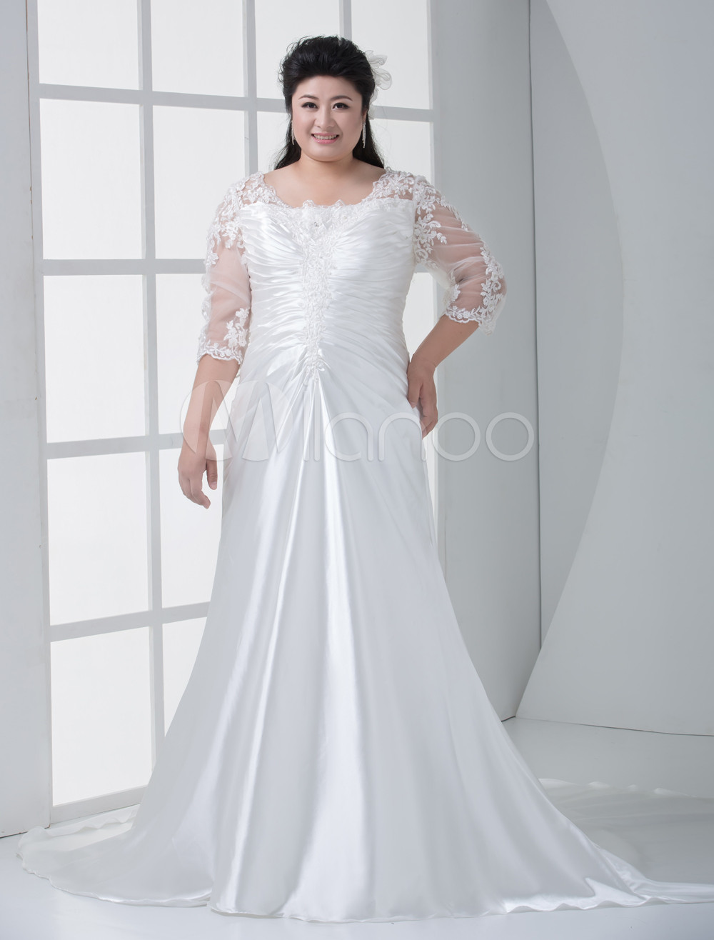 Ivory Square Neck Mermaid Trumpet Pleated Satin Plus Size Wedding Dress