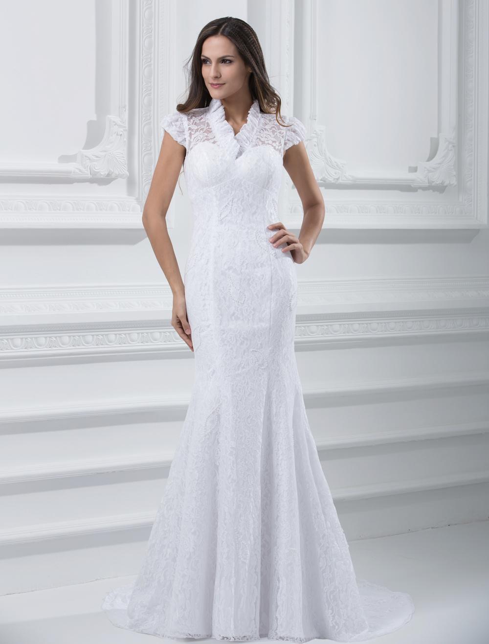 Glamorous White Lace Mermaid Wedding Dress For Bride (Cheap Wedding Dress) photo