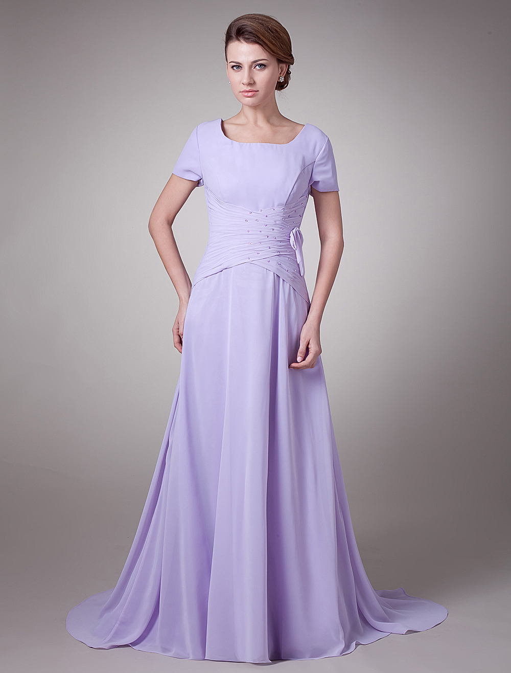 Short Sleeves Draped Waist Chiffon Long Mother of the Bride Dress