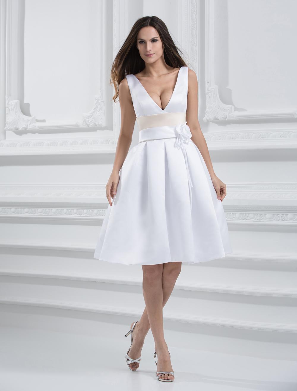 White Knee Length V-Neck Sash Satin Wedding Dress