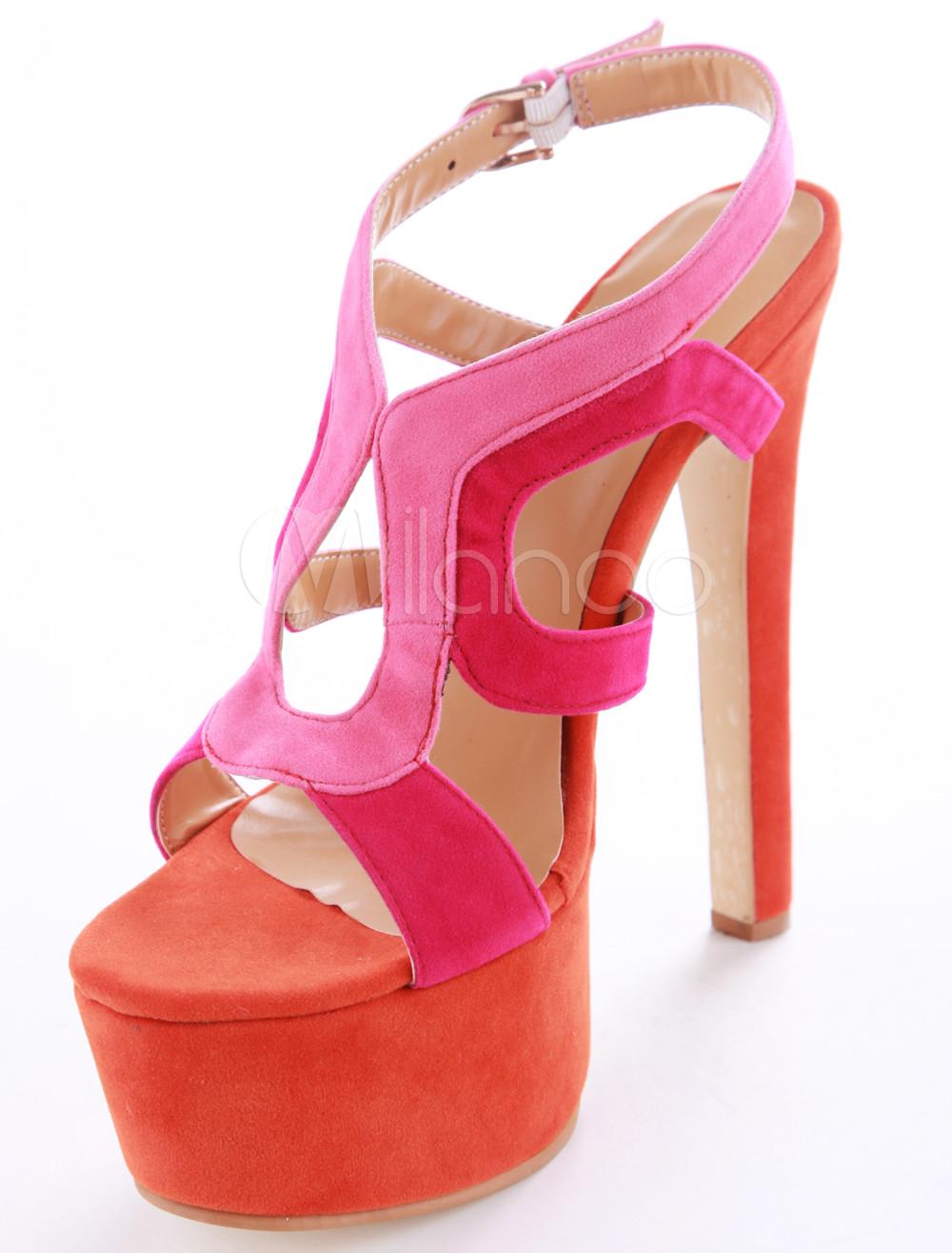 blocco di colore sexy rosso sandali tacco montone suede dress di grosso no2 - Sandale Colore