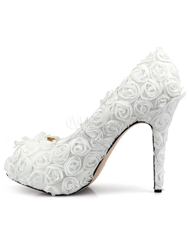 Sweet White Cloth Flowers Women's High Heel Shoes