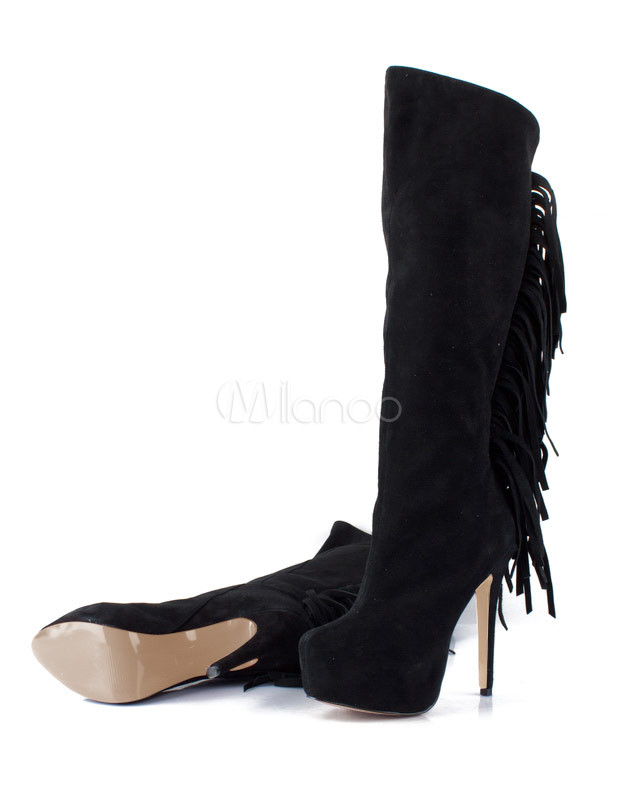 trendy black nubuck fringe high heel s knee high