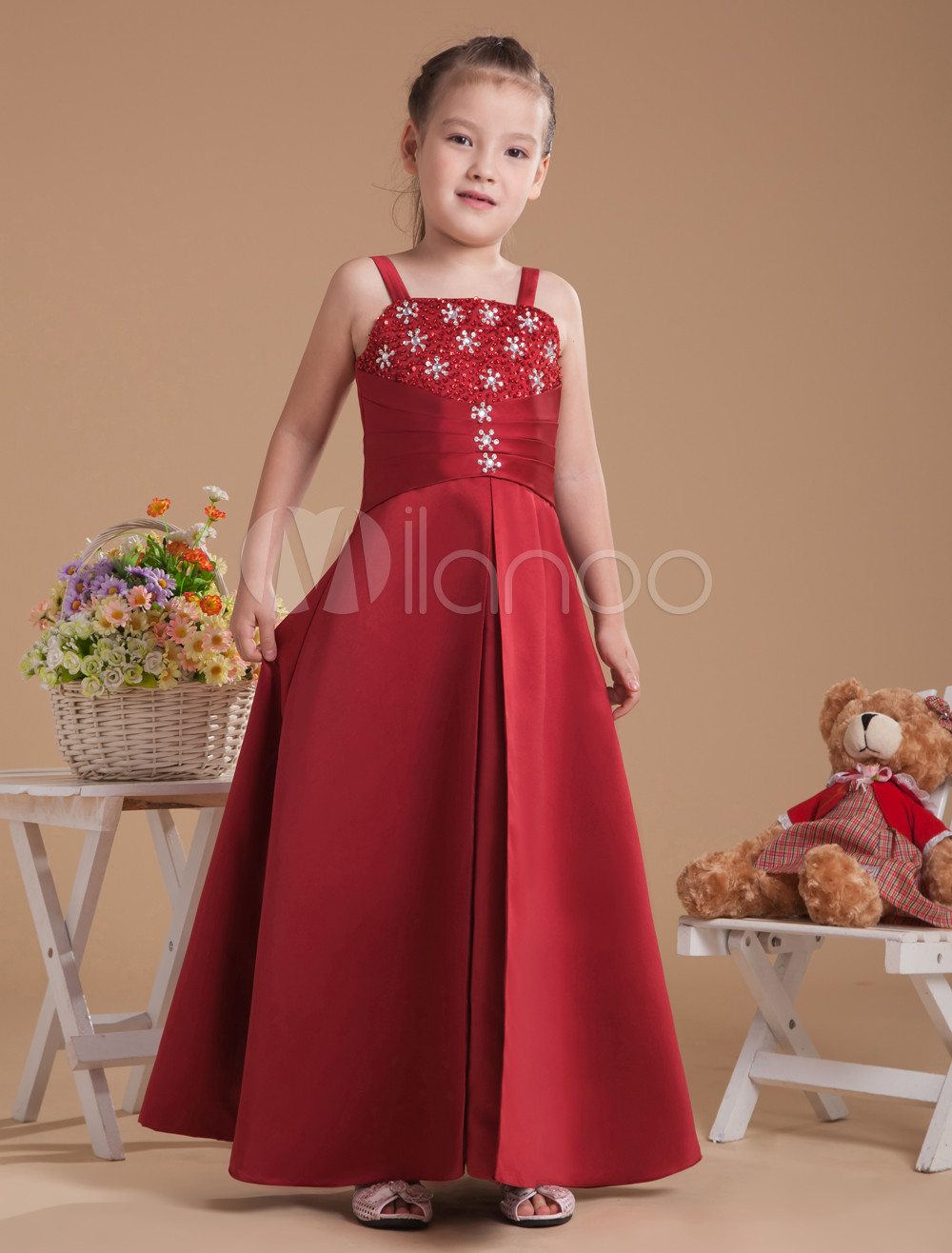 Amazing Red Satin Thin Shoulder Straps Floor Length Junior Bridesmaid Dress