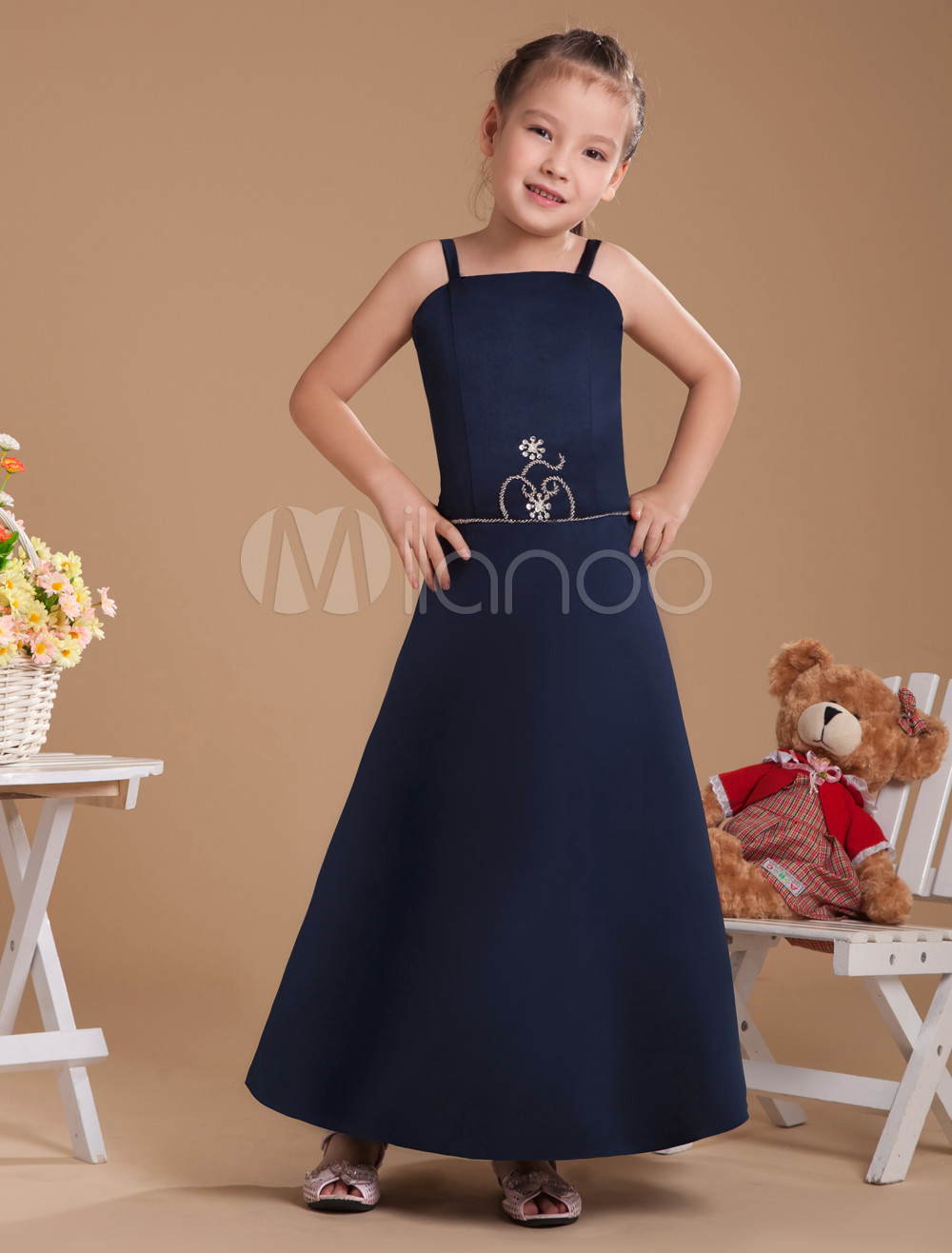 A-line Dark Navy Satin Junior Bridesmaid Dress with Spaghetti Straps