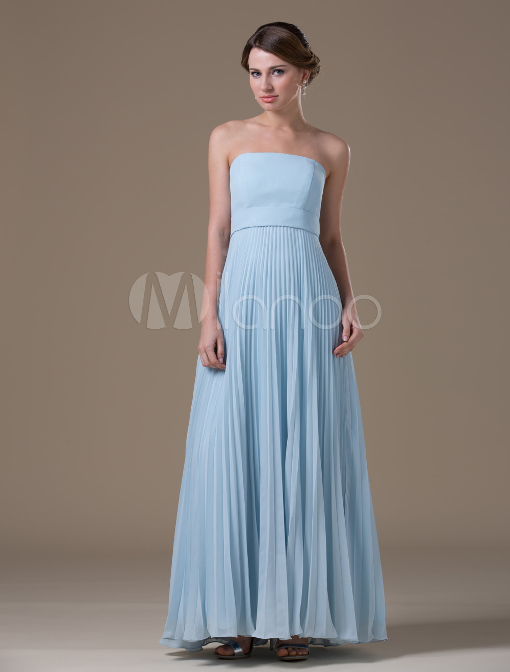 Apricot Gray A-line Strapless Chiffon Floor-length Womens Maternity Bridesmaid Dress