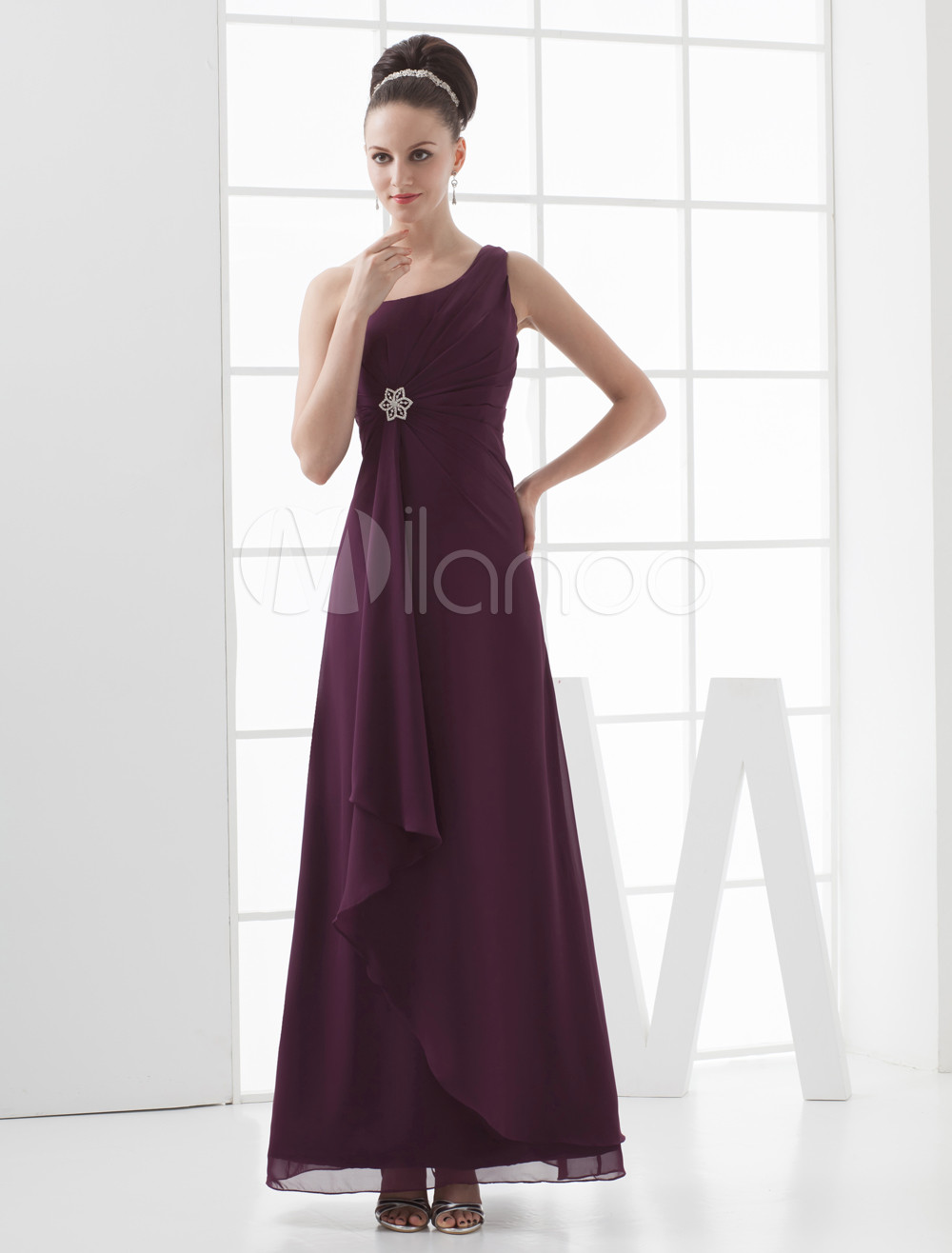 Enticing Grape Chiffon One Shoulder Floor Length Bridesmaid Dress