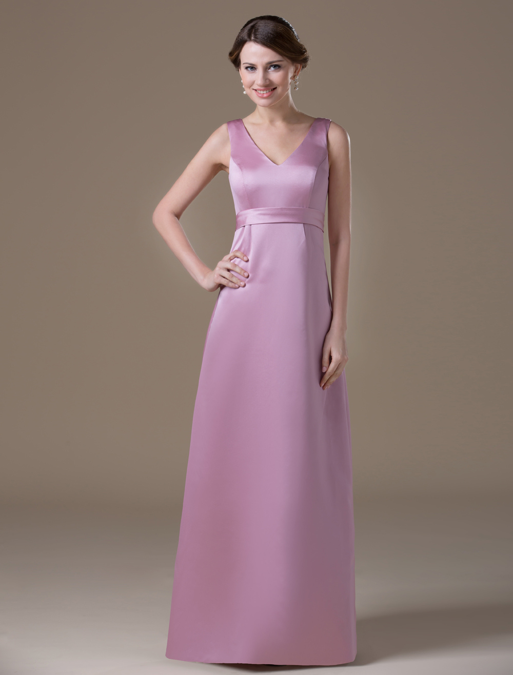 Attractive Pink Satin V-neck Maternity Bridesmaid Dress