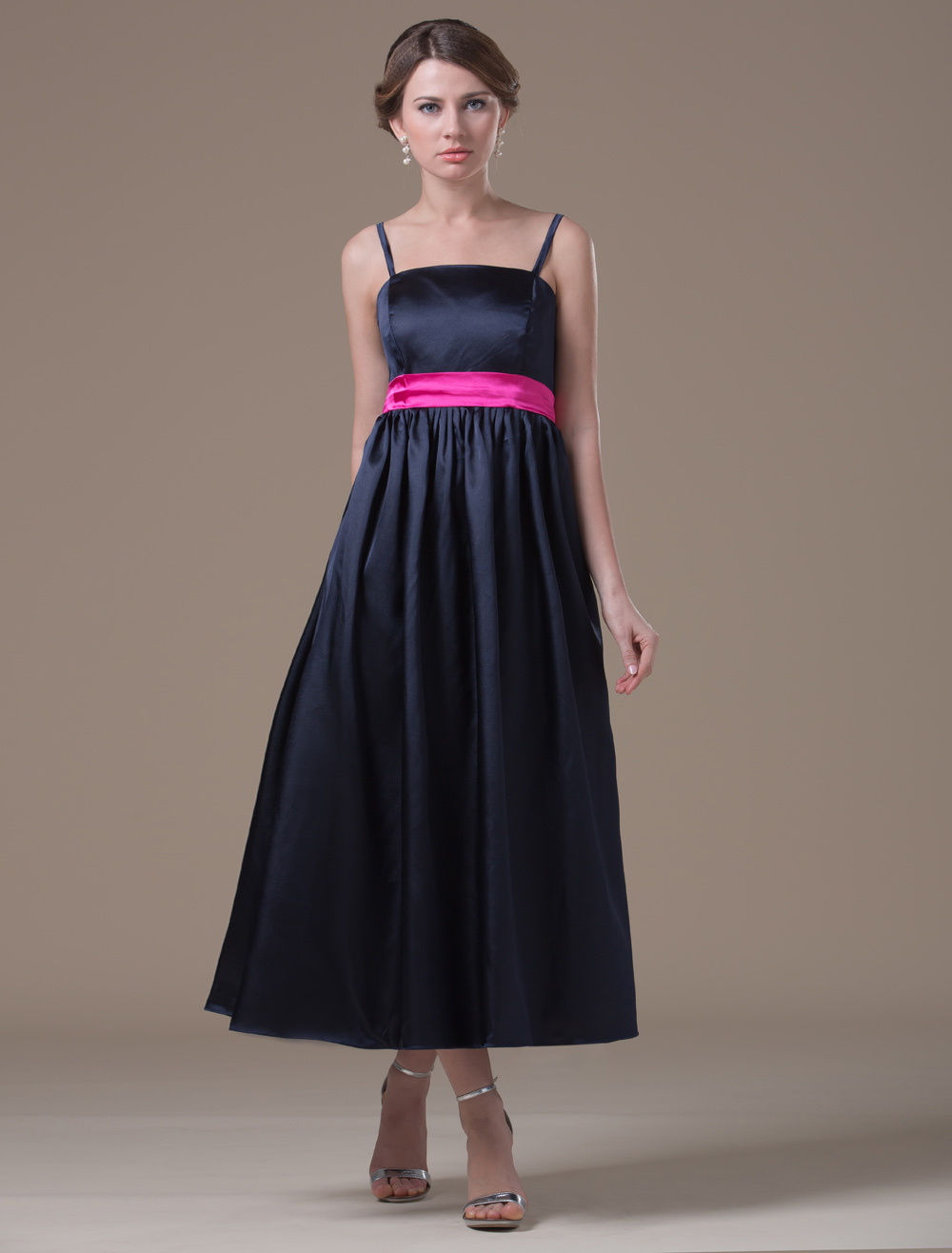 A-line Black Elastic Woven Satin Maternity Bridesmaid Dress with Spaghetti Straps Empire Waist